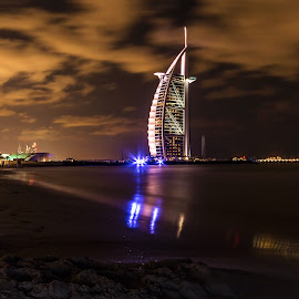 Coastal Motion by Scott Lorenzo - City,  Street & Park  Night ( urban, building, dubai, long exposure, night, travel, cityscape, landscape )