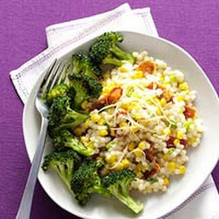 Cheesy Pearl Couscous with Roasted Broccoli