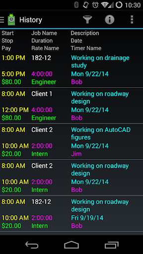 Time Card for Android - screenshot