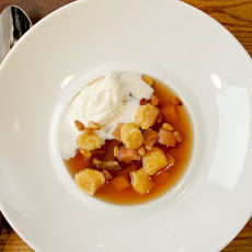 Spiced Apple Cider Soup with Sweet Potato Dumplings, Quince, and Dates