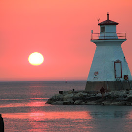 by Catherine Tolton - Landscapes Travel ( water, shore, saugeen river, canada, june, lake huron, lighthouse, lake, ontario, beauty, coast, sun, southampton, sky, colourful, sunset, summer, pink, river )
