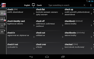Screenshot of BK Dictionary Czech English