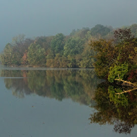 Peace Valley in the Fog by Stan Lupo - Landscapes Weather ( reflection, outdoor photography, waterscape, autumn, fog, outdoors, mood, landscape,  )