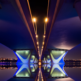 Al Garhoud Bridge by Aamir Munir - Buildings & Architecture Bridges & Suspended Structures ( lights, water reflection, night photography, dubai, bridge, bridges, city )