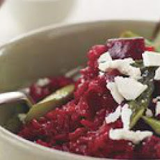 Beet Risotto with Roasted Asparagus and Ricotta Salata