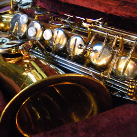 A Little Sax by Kaye Petersen - Artistic Objects Musical Instruments ( musical, saxophone, brass, instrument, antiques,  )