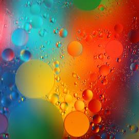 Oil & Water Fun by Janet Herman - Abstract Macro ( water, abstract, oil and water, macro, colorful, psychedelic, floating, fun, oil art, oil )