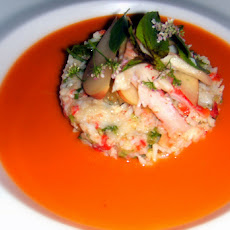 Cold Tomato Soup with Fresh Crab Gazpacho Relish