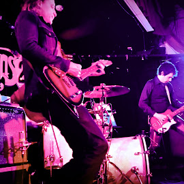 The Jon Spencer Blues Explosion by Angie Constable - People Musicians & Entertainers ( concert, purple, rock and roll, guitars, stage, people, gig, creativity, lighting, art, artistic, mood factory, lights, color, fun,  )