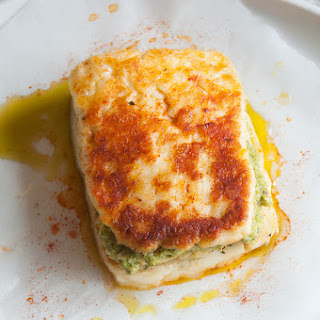 Halloumi Burgers With Zucchini Fritters And Mint Pea Pesto
