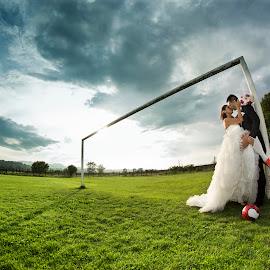 Sharing passion by Cristi Rus - Wedding Bride & Groom ( football, wedding, bride, groom, trash the dress )