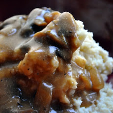 Mashed Garlicky Potatoes with Portobello Gravy