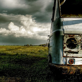 Rust and Nature pt.1. by Zsolt Zsigmond - Transportation Automobiles ( clouds, field, old, wreck, rusty )