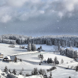 Winter wonderland with homes by Tina Wiley - Landscapes Weather ( stormy, houses, peaceful, seasonal, remote, rural, hillside, winter, cold, nature, village, snow, landscape weather, trees, black forest, germany, homes )
