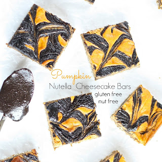 Pumpkin Nutella Cheesecake Bars (egg free nut free gluten free)