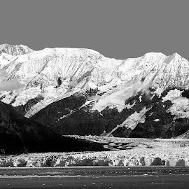Hubbard Glacier, Glacier Bay, Alaska by Dan Dusek - Landscapes Travel ( glacier, mountains, black and white, waterscape, landscape,  )