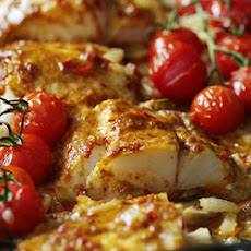 Baked Cod with Crispy Garlic Potatoes and Warm Tomato Salsa Recipe ...