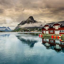 Reine village, Lofoten by Catalin Tibuleac Fotografie - Landscapes Travel ( water, mountains, sky, village, reine, reflections, summer, lofoten islands, fjords, storm, mist, norway )