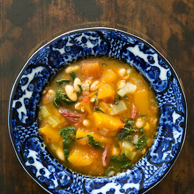 White Bean Soup with Ham, Pumpkin, and Chard