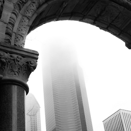 Into the Mist by Jason Weigner - Buildings & Architecture Office Buildings & Hotels ( washington, tower, seattle, black and white, fog, mist, city, Urban, City, Lifestyle,  )