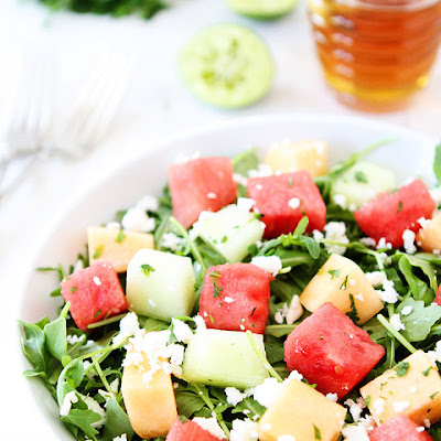 Melon Arugula Salad with Honey Lime Dressing