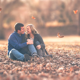 Love by Mason Bletscher - People Couples ( love, girl, nature, fall, couple, men, leaves, boy, women, people,  )