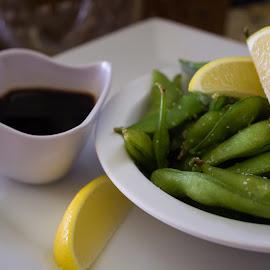 Steamed Edammame by Danielle Benbeneck - Food & Drink Fruits & Vegetables ( sea salt, soy, edammame, food, healty, lemon )