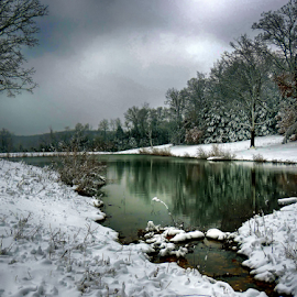 Snowy Pond by Linda Shannon-Morgan - Landscapes Waterscapes ( clouds, water, ponds, nature, outdoors, snow, rural,  )