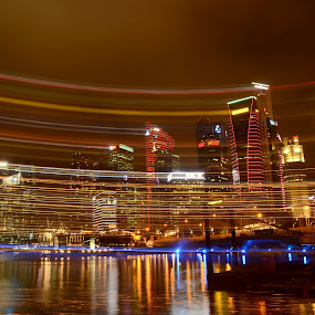 singapore cityscapes in panning by Woo Yuen Foo - City,  Street & Park  Night