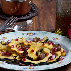 Roasted Squash and Chestnuts with Pomegranate Seeds and Maple Balsamic Sauce