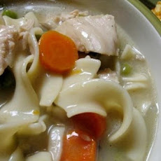Lazy Slow Cooker Creamy Chicken Noodle Soup