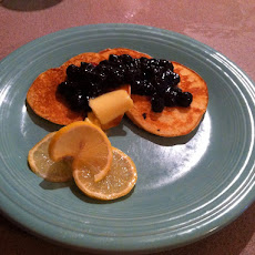 Lemon Honey Ricotta Pancakes with Blueberry Compote