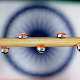 Water drop for Indian Flag by Nandish Desai - Abstract Macro ( water drops, macro, flag, india,  )
