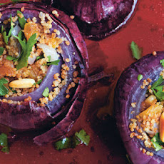 Baked Red Onions Stuffed With Toasted Spiced Couscous