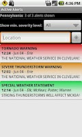 Screenshot of Active Alerts - Weather Alerts