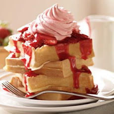 Belgian Waffles with Triple Strawberry Topping