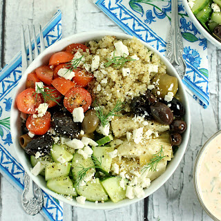 Loaded Greek-Style Quinoa Bowls with Chunky Feta & Spicy Tzatziki