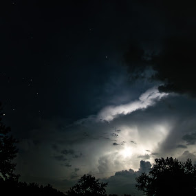 Stars and Thunder by Matthew Lindsey - Landscapes Weather ( couds, thunderstorm, stars, trees, night )