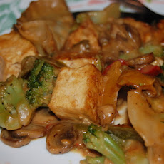 Spicy Stir Fry Tofu With Peanut Sauce W/ Snow Peas and Mushrooms