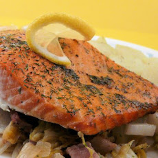 Slow-Roasted Salmon With Cabbage, Bacon & Dill