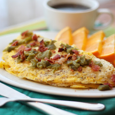 Bacon, Green Chile and Mushroom Omelet
