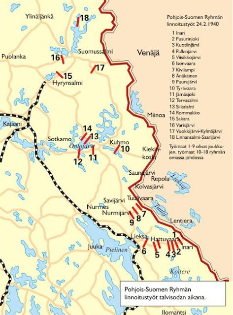 Pohjois-Suomen Ryhmän linnoitustyöt talvisodan aikana.