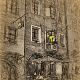 The Golden Arches in Innsbruck Austria by Dennis Granzow - Digital Art Places ( europe, innsbruck, street scene, travel, drawing, austria )