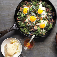 Fried Eggs with Greens and Mushrooms
