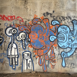 Aliens Among Us by Raymond Paul - City,  Street & Park  City Parks ( park, theodore roosevelt island, graffiti, outdoors, landscape )