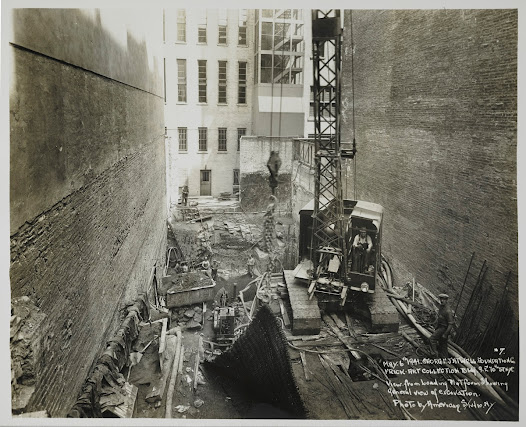 Photograph showing the excavation process during the construction of the new vault.