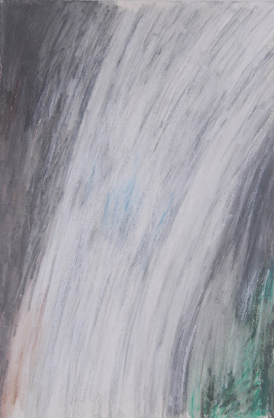 Waterfall #1 <br> Pastel, watercolor on paper <br> 15.5 x 10.5 in