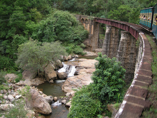 Nilgiri Express crossing a bridge