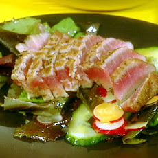 Seared Ahi Tuna and Salad of Mixed Greens with Wasabi Vinaigrette
