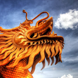 Smokey Dragon by Sơn Gò Dưa - Buildings & Architecture Statues & Monuments ( temple, vinh, statue, dragon, smoke )